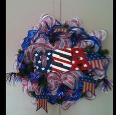 Deco Mesh Patriotic Wreath ~ Red White Blue Stars and Stripes