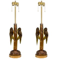 Midcentury Pair of Amber Colored Murano Glass Parrot Lamps by Alfredo Barbini | From a unique collection of antique and modern table lamps at https://www.1stdibs.com/furniture/lighting/table-lamps/