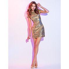 ts+couture®+petrecere+cocktail+/+rochie+de+vacanță,+plus+dimensiunea+/+teaca+minion+/+coloană+lingura+scurt+/+mini+cu+paiete+–+USD+$+109.99