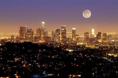 Los Angeles Skyline with Moon : Custom Wall Decals, Wall Decal Art, and Wall Decal Murals | WallMonkeys.com