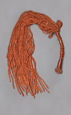 Multi-strand Coral Fly Whisk with Red Jasper Handle Belonging to the King of Benin, ca. 1898 or Earlier, Nigeria African Necklace, African Beads, African Jewelry, Egyptian Costume, Egyptian Art, Coral Jewelry, Tribal Jewelry, African Tribes, African Art