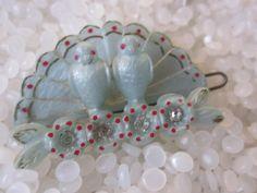 Unique vintage hair barrette soft blue birds by rosebudcottage