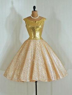 ~Party Dress: 1950s, lamé and lined illusion lace, tulle-lined skirt~