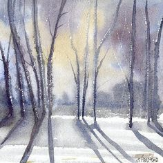 Christmas Fine Art Cards- From an original watercolour 'Winter Snow... ($3.15) ❤ liked on Polyvore featuring home, home decor, stationery, backgrounds, christmas, art, winter, photos, effect and filler
