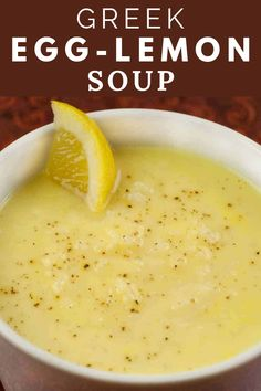 Greek Egg-Lemon Soup (Avgolemono Soupa) This unique Greek dish, also known as Avgolemono Soupa, has a wonderful velvety texture and is made with only 5 ingredients! It's a great option for a first course or light main dish served with salad. Soup Appetizers, Easy Appetizer Recipes, Easter Recipes, Recipes Dinner, Greek Dishes, Main Dishes, Greek Lemon Chicken Soup, Greek Egg Lemon Soup Recipe, Gourmet