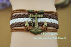 Anchor bracelet  Retro bronze anchor braceletBrown by TheGiftWorld, $3.99 Personalized fashion handmade leather bracelet,the best gift of friendship.