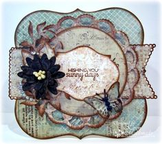 """#cheeryld  Hello there sweet Cheery Lynn friends! It's Karen here, sharing my """"anything goes"""" challenge card.  List of Cheery Lynn Designs dies used:   French Flair Classic Silver Stacker DL278 Horizon Fishtail Banner XL20 Pierced Stacker #2 DL264 Daphne Doily w/Angel Wing L4 Circle Classic Silver Stacker B259 Daisy Strip B571 Leafy Flourish SF1 Leaf DL112AB Small Exotic Butterflies #1.  www.CheeryLynnDesigns.com"""
