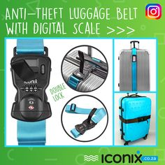 Anti-Theft Luggage Belt with Digital Scale and Double Lock Double Lock, Travel Tags, Digital Scale, 30 Seconds, Peace Of Mind, Travel Essentials, Ecommerce, Belts, Safety