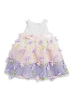 Lavender - Little Girls Floral Accented Dress