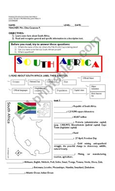 This handout provides reading comprehension exercises on South Africa(main information). 3 pages, the last one, Afrikaan and English common words. Comprehension Exercises, Reading Comprehension, South Africa Facts, Vocabulary Worksheets, Esl, Names, Teacher, This Or That Questions, Learning