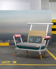 Paulo Kobylka designs furniture using brightly painted industrial mesh