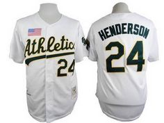 Men's Oakland Athletics #24 Rickey Henderson 1990 White Mitchell & Ness Jersey