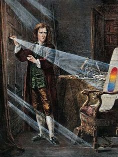 Sir Isaac Newton born 1643 on Christmas day to Hannah Newton. His father, Isaac Newton, Sr., died before he was born. This is picture of his experiments with the components of light at Woolsthorpe Manor, my family's ancestral home. Isaac Newton, Munsell Color System, Scientific Revolution, Book Summaries, Color Theory, Occult, Funny Pictures, Funny Memes, Meme Meme