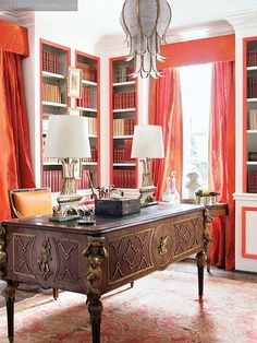 serene #study - and a glamourous #chandelier