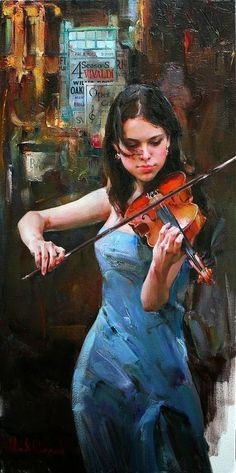 """Music of the Streets"" - Michael and Inessa Garmash, oil on canvas {contemporary figurative art beautiful female playing violin woman in blue dress texture painting} Figure Painting, Painting & Drawing, Texture Painting, Cave Painting, Beautiful Paintings, Pastel Paintings, Figurative Art, Artist At Work, Female Art"