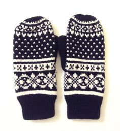 Knit Winter Gloves Mittens Fleece Lining Women Traditional Scandinavian Pattern Fair Isle Knit Fashion Accessories Christmas Gift Ideas by GrahamsBazaar