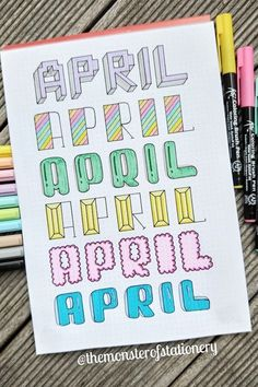 Check out these super cute April header and title ideas for inspiration to try in your bullet journal! If you need help starting out your spreads and layouts for the month, then check out these super cute bullet journal april headers for inspriation! April Bullet Journal, Bullet Journal Headers, Bullet Journal Banner, Bullet Journal School, Bullet Journal Notebook, Bullet Journal Ideas Pages, Bullet Journal Inspiration, Bullet Journal Writing Styles, Bullet Journal Birthday Page