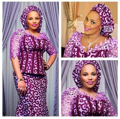 purple Ankara with a pin of lace