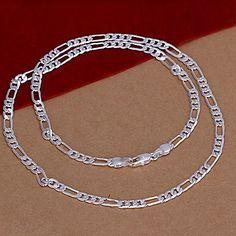 collar de plata de la cadena del figaro 4mm unisex – USD $ 2.84