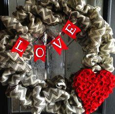 Decorating the Ville: Chevron Burlap Valentine's Day Wreath