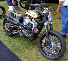 "pinterest.com/fra411 #Harley Sportster Turbo,  Street tracker by Jesse Rooke based around a 2008 Harley-Davidson Sportster 883 which was coupled with a Turbo charger. This Turbo motorcycle got a single sided swingarm, Trask Performance turbo and a 18"" tires."