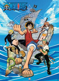 Póster One Piece. Grupo Piratas Póster con la imagen de los protagonistas perteneciente al popular manga One Piece. Luffy y sus compañeros de aventuras a bordo del Thousand Sunny.