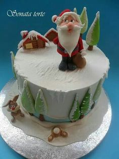 Sonata sweet-torte added a new photo — in Belgrade, Serbia. Christmas Clay, Christmas Sweets, Christmas Baking, Christmas Cakes, Christmas Cake Designs, Christmas Cake Decorations, Fondant, Wedding Cake Cookies, Fancy Cookies