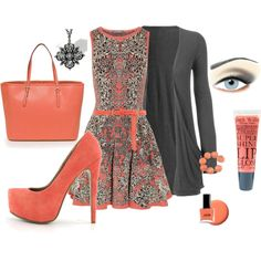I could do without that particular shoe style, but I do like that dress. Coral and Charcoal, created by eileen-bodily on Polyvore