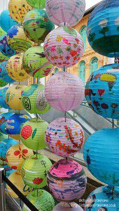 Kids chinese paper lantern painting activity