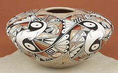 "Rainy Naha, Hopi-Tewa's ancestors design  called ""embracing eagles."""