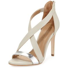 Bcbgmaxazria Rainn Metallic Strappy Sandal ($90) ❤ liked on Polyvore featuring shoes, sandals, heels, high heels, sapatos, high heel shoes, leather sole sandals, leather heeled sandals, strappy heeled sandals and criss cross strap sandals