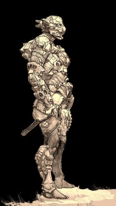robo suit by AlexPascenko Armor Concept, Concept Art, Character Concept, Character Art, Ronin Samurai, Sci Fi Armor, Sci Fi Characters, Cyberpunk Art, Science Fiction Art