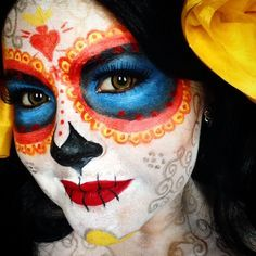 Make up for La Muerte Cosplay , Dia de Los Muertos, La Catrina, Sugar Skull, The… Halloween 2015, Holidays Halloween, Halloween Make Up, Halloween Party, Halloween Face Makeup, Halloween Costumes, Halloween Ideas, Book Of Life Costume, Elf Make Up
