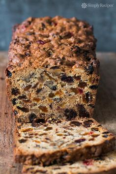 Fabulous holiday fruitcake recipe with dates, raisins, walnuts, glazed cherries, and orange zest! ~ SimplyRecipes.com