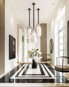 "420 Likes, 2 Comments - @1stdibs on Instagram: ""London Calling!  The entrance of @kellyhoppen's home features bespoke pendant lights by Hervé…"""