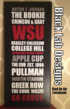 WSU Subway Sign  Black Lab Designs--Find Us On Facebook