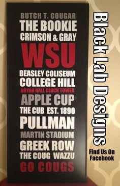 WSU Subway Sign  Black Lab Designs--Find Us On Facebook