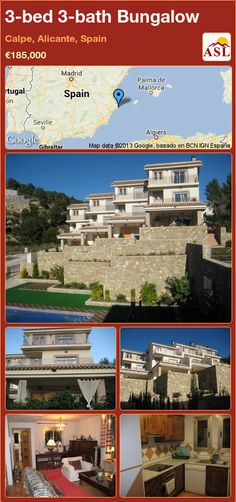 Bungalow for Sale in Calpe, Alicante, Spain with 3 bedrooms, 3 bathrooms - A Spanish Life Calpe Alicante, Alicante Spain, Bungalows For Sale, First Kitchen, Swimming Pools, Spanish, Mansions, Living Room, Bathroom