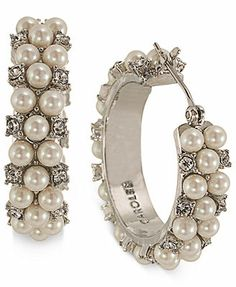 Carolee Silver-Tone Imitation Pearl and Crystal Accent Hoop Earrings macys
