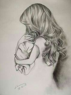 Pencil drawings · how to draw hair, baby art, mothers love, body art tattoos, baby Mother Tattoos, Baby Tattoos, Body Art Tattoos, Cool Art Drawings, Pencil Art Drawings, Art Drawings Sketches, Drawing Ideas, Beautiful Drawings, Mother Daughter Art