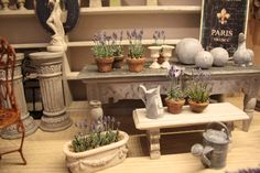 Tutorial - step-by-step instructions & illustrations for how to make lavender for the dollhouse planter