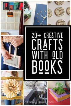 Express your creativity and love of reading with these unique crafts with old books! Included are upcycled books crafts like a literal pocketbook, book knife block, book page roses, book plant holder, repurposed books coat rack and more! Old Book Crafts, Newspaper Crafts, Comic Book Paper, Book Page Roses, Decor Crafts, Diy Crafts, Craft Projects, Craft Ideas, Decor Ideas