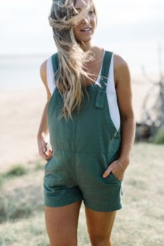 Woman's Linen overalls | Green cotton playsuit