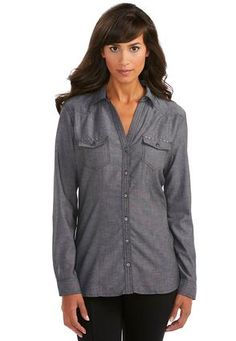 Cato Fashions Lace Back Chambray Shirt-Plus  #CatoFashions $24.99 cute shirt one color :(