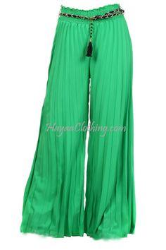 Wide Leg Palazzo Pants, Harem Pants, Pajama Pants, Modern Islamic Clothing, Muslim, Parachute Pants, Chiffon, Green, Skirts