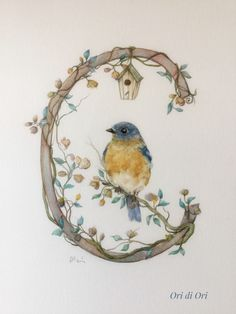 Alphabet Art, Letter Art, Flower Letters, Decoupage Vintage, Painted Letters, Bird Drawings, Illuminated Letters, Calligraphy Art, Lettering Design