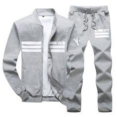Plus Size 2018 Spring Autumn Men's Sportswear Suit Clothing Set Tracksuit Men 2 pieces Casual Sweatshirts Pants Mens Casual Suits, Mens Suits, Suit Men, Tracksuit Jacket, Style Casual, Casual Outfits, Casual Wear, Fall Outfits, Hoodie Sweatshirts