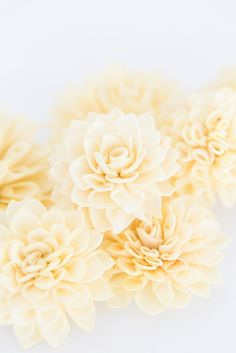10 Soft Yellow Wooden Flowers, Rustic Wedding Decorations, Wedding Flowers