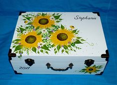Romantic Wedding Box Card Box Suitcase Large Wood Sunflower