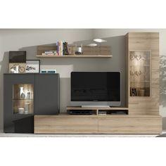 Modular de Salón roble natural / antracita Tv
